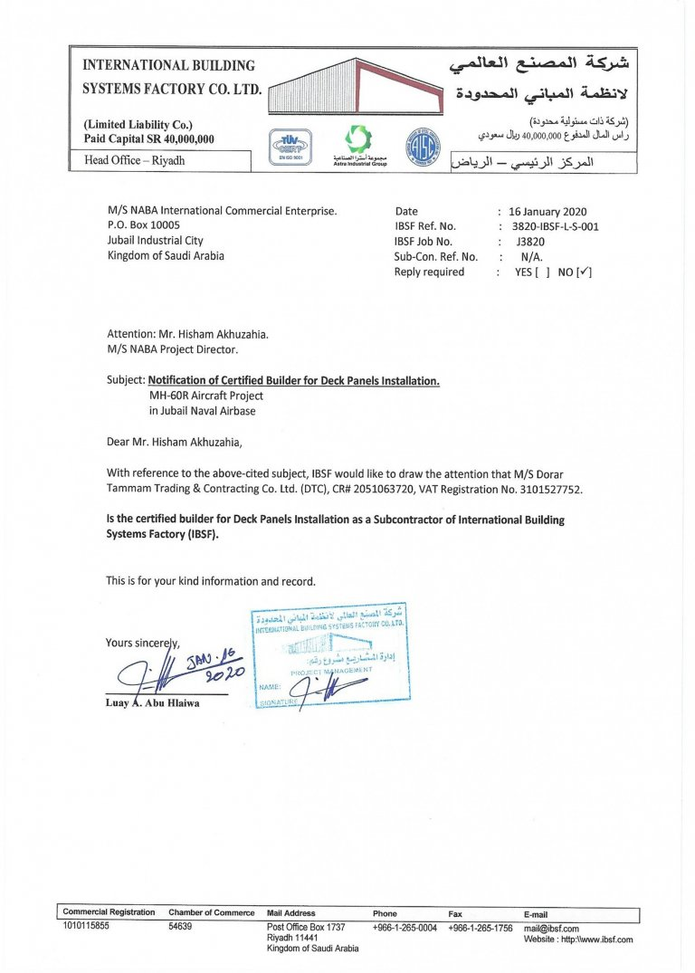 Certificates Certificates 3820 IBSF L S 0001 Notice for Subcontractor   s Representative Replacement